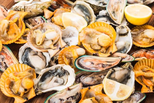 Diverse verse schelpdieren mosselen en oesters Premium Foto