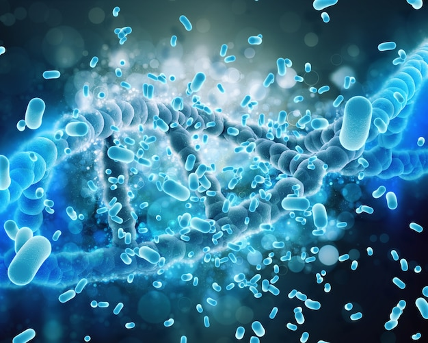 Dna helix aangevallen door bacteriën Gratis Foto