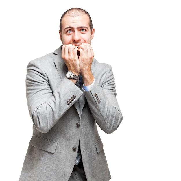 Doen schrikken zakenman die op wit wordt geïsoleerd Premium Foto