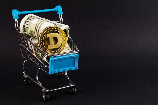 Dogecoin doge cryptocurrency betaalmiddelen in de financiële sector Premium Foto
