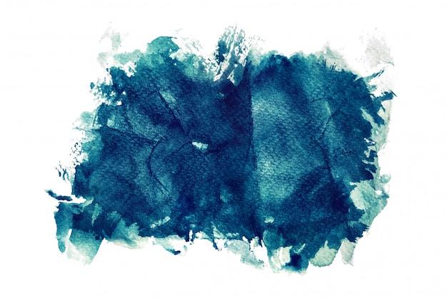 Donkerblauwe waterverf die op witte achtergronden, hand wordt geïsoleerd die op verfrommeld document schilderen Premium Foto