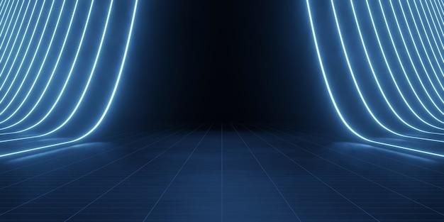 Donkere grunge vloer achtergrond met led stripe lichten Premium Foto