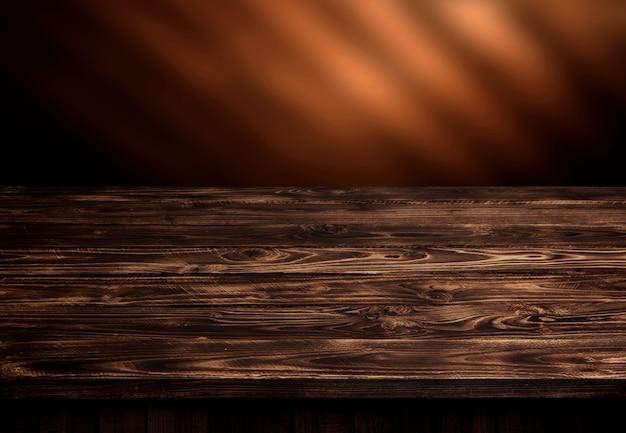Donkere houten tafel, bruin houten perspectief interieur Premium Foto