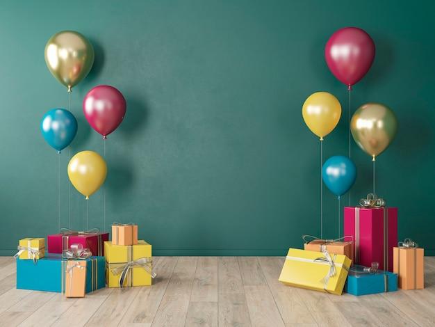 Donkergroene lege muur, kleurrijk interieur met geschenken, cadeautjes, ballonnen voor feest, verjaardag, evenementen. 3d render illustratie, mockup. Premium Foto