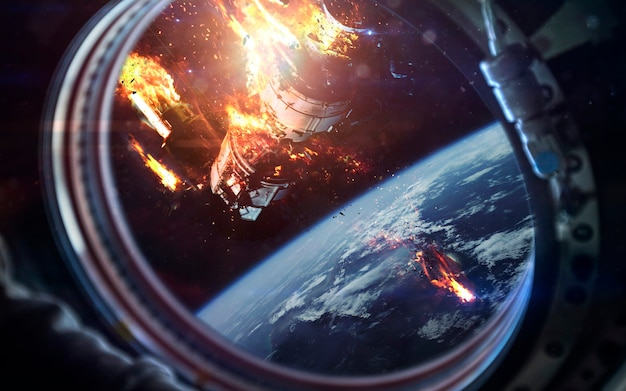 Dood van internationaal ruimtestation Premium Foto