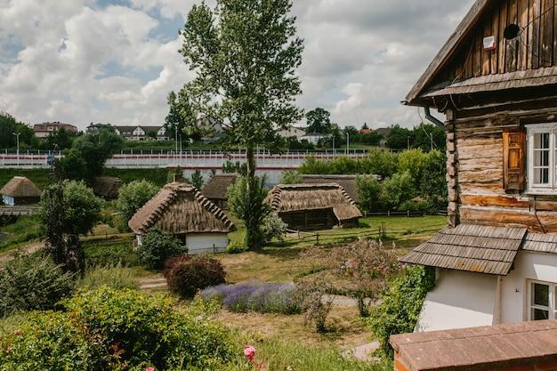 Dorp met oude huizen met een rieten dak Premium Foto