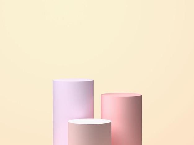 Drie cilinders op pastel achtergrond. geometrische 3d-vormen, kunstontwerp. 3d-weergave Premium Foto