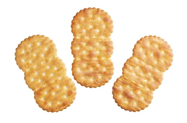 Drie crackers geïsoleerd op een witte achtergrond Premium Foto