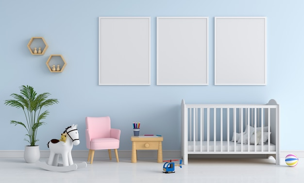 Drie lege foto in de kinderkamer Premium Foto