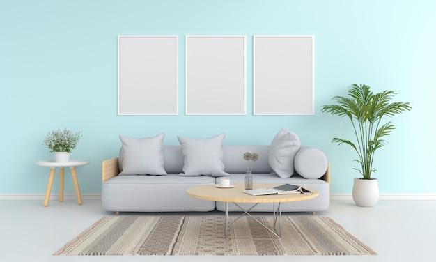 Drie lege fotolijstjes voor mockup in de woonkamer Premium Foto