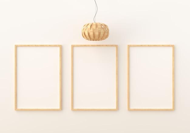 Drie lege fotolijstjes voor mockup in moderne woonkamer Premium Foto