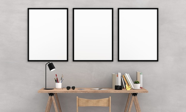 Drie lege fotolijstjes voor mockup op de muur Premium Foto