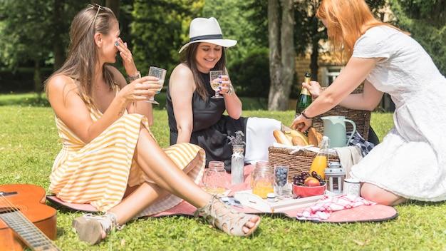 Drie vrouwelijke vrienden die van de dranken op picknick genieten Gratis Foto