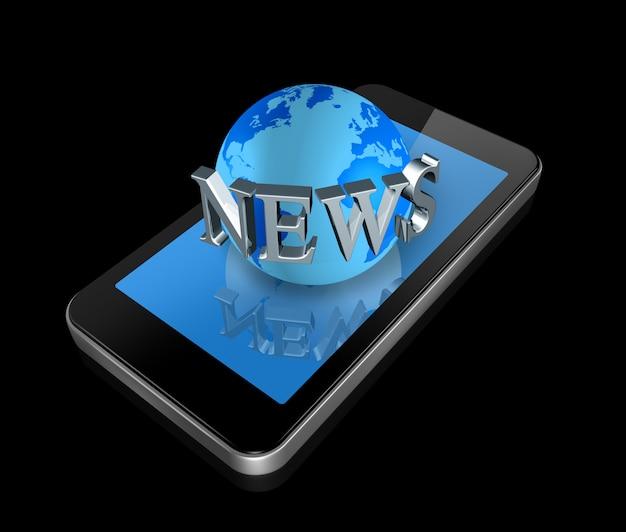 Driedimensionele mobiele telefoon en nieuwswereldbol die op zwarte whith het knippen weg wordt geïsoleerd Premium Foto