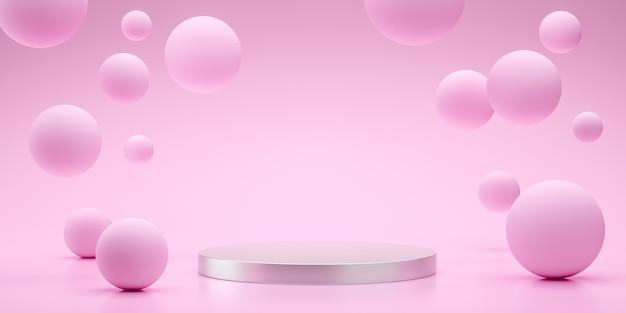 Drijvende bollen 3d-rendering lege ruimte voor productontwerp roze weergeven Premium Foto