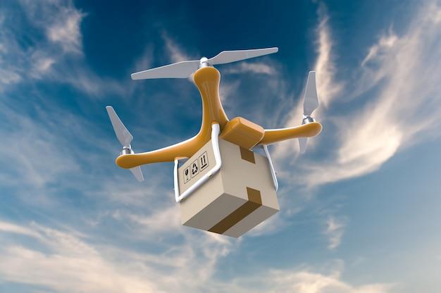 Drone vliegen met een pakket levering in de lucht Premium Foto