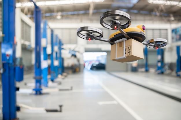 Drone voor levering van reserveonderdelen bij garageopslag in toonaangevend servicecentrum voor auto's Premium Foto