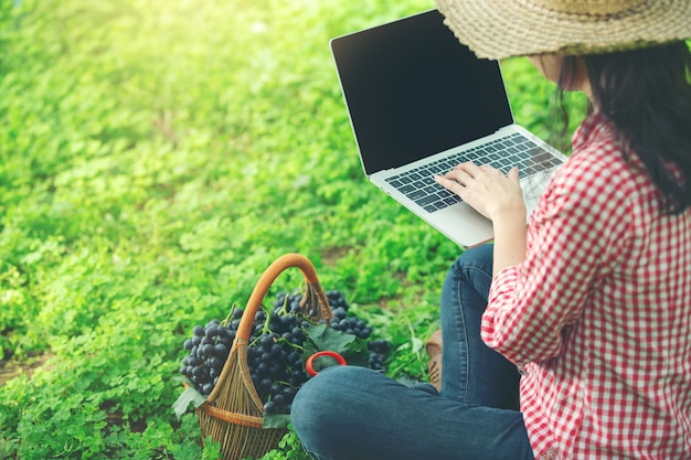 Druiventelers zijn blij om onlinemarktdruiven te verkopen Gratis Foto