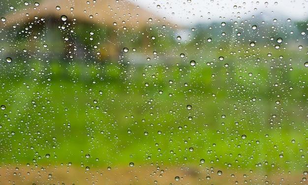 Druppels regen op het glasoppervlak. Premium Foto
