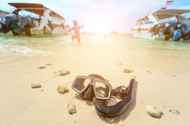 Duik masker en snorkel, snorkelen Premium Foto