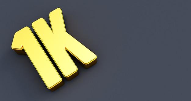 Duizend 1000. 1k gouden bord. bedankt 1k volgersontwerp. 3d render Premium Foto