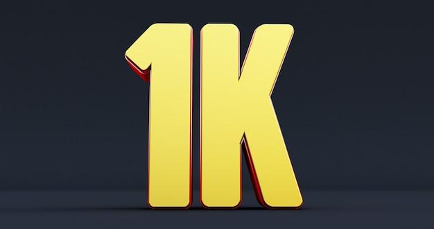 Duizend. 1k rood bord. bedankt 1k volgersontwerp. 3d render Premium Foto