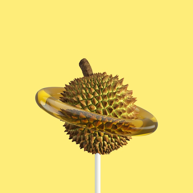 Durian fruit candy. minimaal fruit idee. 3d render. Premium Foto