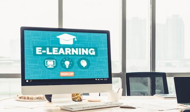E-learning en online onderwijs voor studenten en universiteitsconcept. Premium Foto