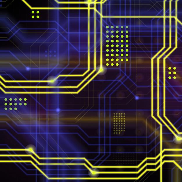 Een abstracte technologische achtergrond bestaande uit een veelheid aan lichtgevende geleidingslijnen en punten die een soort fysiek moederbord vormen. gele en blauwe kleur Premium Foto