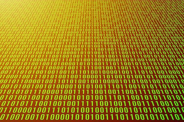 Een afbeelding van een binaire code die bestaat uit een reeks groene cijfers op een zwarte achtergrond. afgezwakt Premium Foto