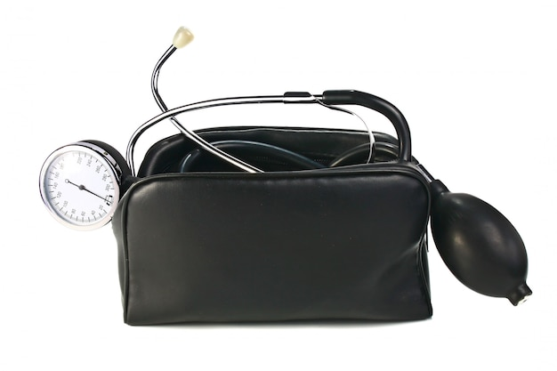 Een apparaat dat bloeddruk leest Premium Foto