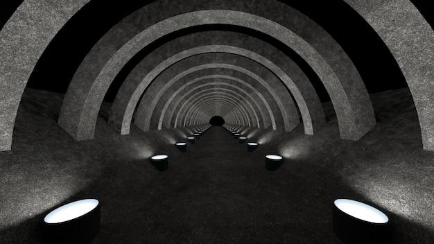 Een betonnen gangsjabloon met verlichting voor gebruik als achtergrond voor uw ontwerp. 3d-weergave Premium Foto