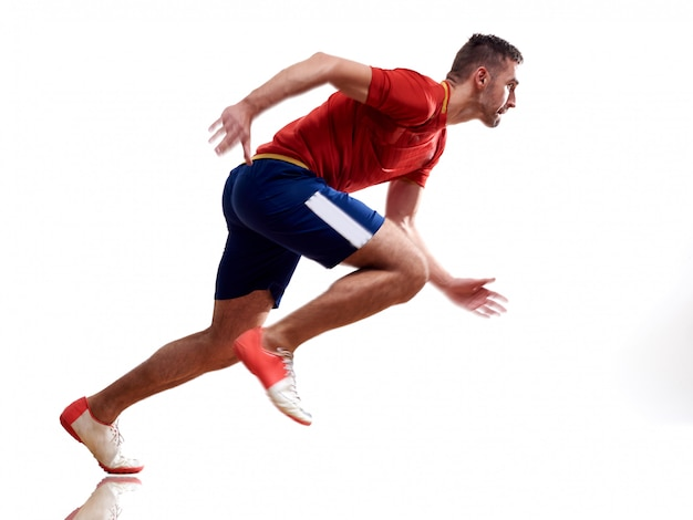 Een blanke man runner jogger lopende joggen geïsoleerd op wit met schaduwen Premium Foto