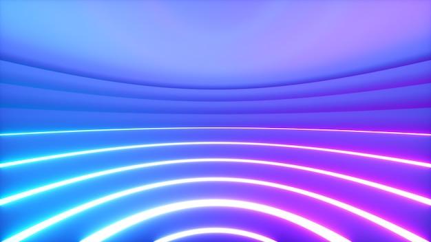 Een bolvormige kamer met felle neonverlichting met een offset-effect. business achtergrond. 3d-afbeelding Premium Foto