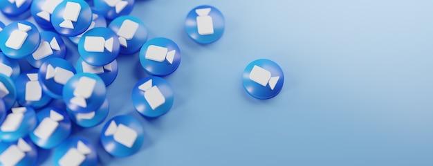 Een bos van zoomlogo's op blauw Premium Foto