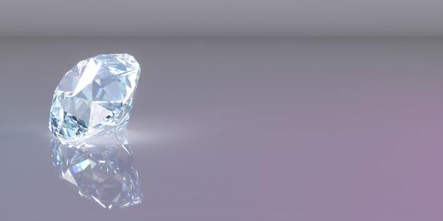 Een diamant aan de linkerkant van het frame op een donkere achtergrond, 3d illustratie Premium Foto