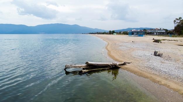 Een dode boomstam op een strand, egeïsche zeekust, gebouwen en heuvels, asprovalta, griekenland Gratis Foto