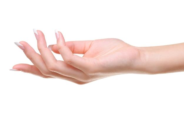 Een elegante vrouwelijke hand met schoonheid franse manicure geïsoleerd op wit Gratis Foto