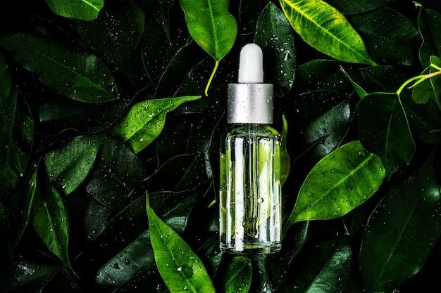 Een fles cosmetische olie op natte bladeren Premium Foto
