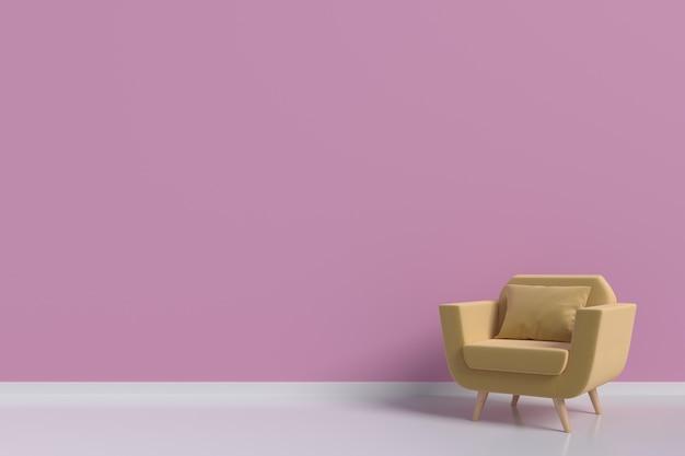 Een gele leunstoel in de woonkamer, roze muren, het 3d teruggeven ...