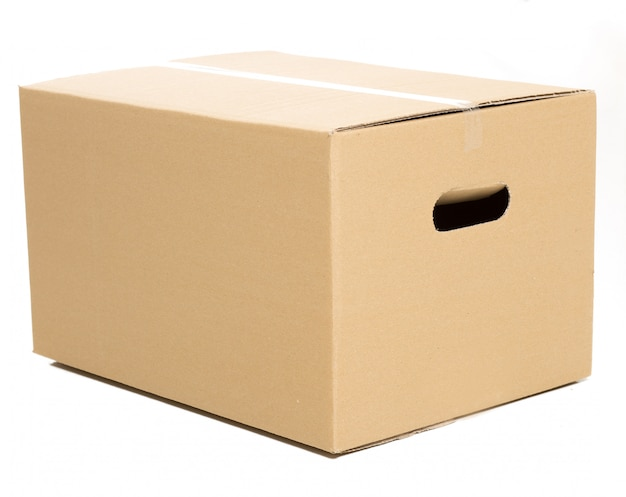 Een gesloten doos op de witte Gratis Foto