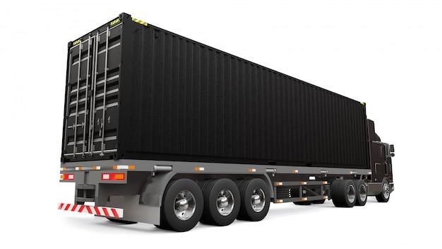 Een grote retro zwarte vrachtwagen met een slaapgedeelte en een aerodynamische uitbreiding draagt een aanhangwagen met een zeecontainer. 3d-weergave Premium Foto