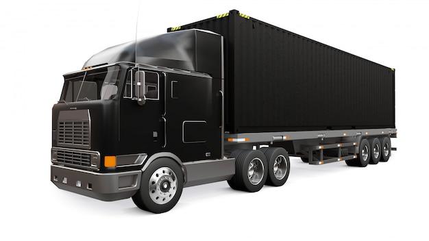 Een grote retro zwarte vrachtwagen met een slaapgedeelte en een aerodynamische uitbreiding draagt een aanhangwagen met een zeecontainer Premium Foto
