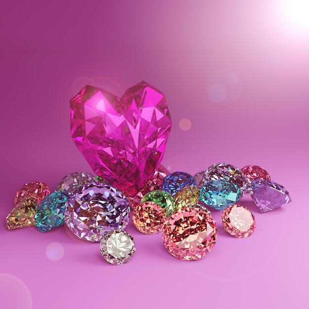 Een hart vorm diamant op een stapel van kleurrijke diamant op roze achtergrond met flare. Premium Foto