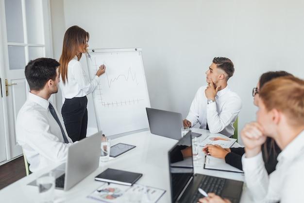 Een jonge, moderne zakenvrouw presenteert haar collega's, partners in de moderne conferentiezaal. Premium Foto