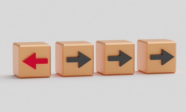 Een kubus met een rode pijl, de andere met een zwarte pijl Premium Foto