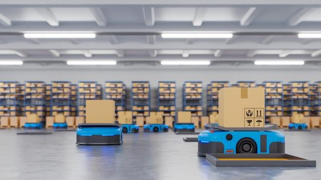 Een leger van robots dat honderden pakketten efficiënt per uur sorteert Premium Foto