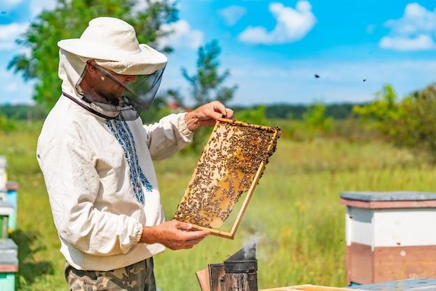 Een man in een beschermend pak en hoed heeft een frame met honingraten van bijen in de tuin Premium Foto