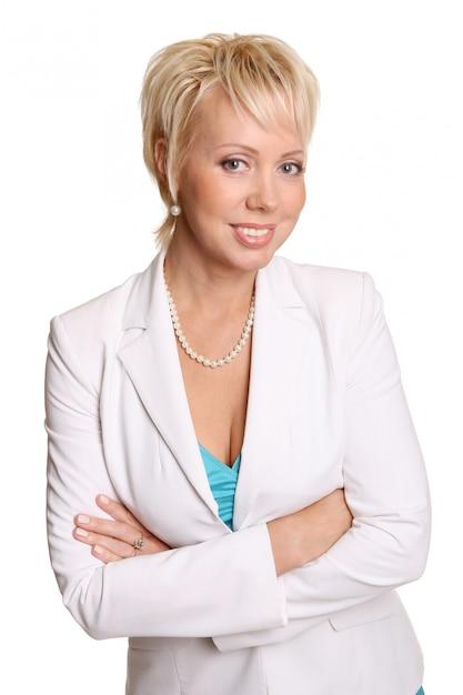 Een mooie aantrekkelijke vrouw op wit Gratis Foto
