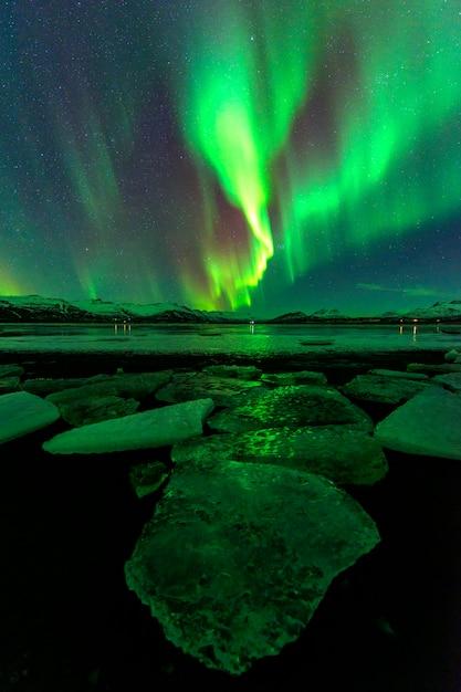 Een prachtige nacht met noorderlicht Premium Foto